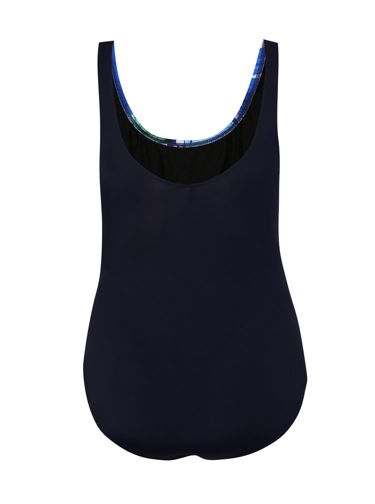 Modré jednodílné vzorované plavky Ulla Popken