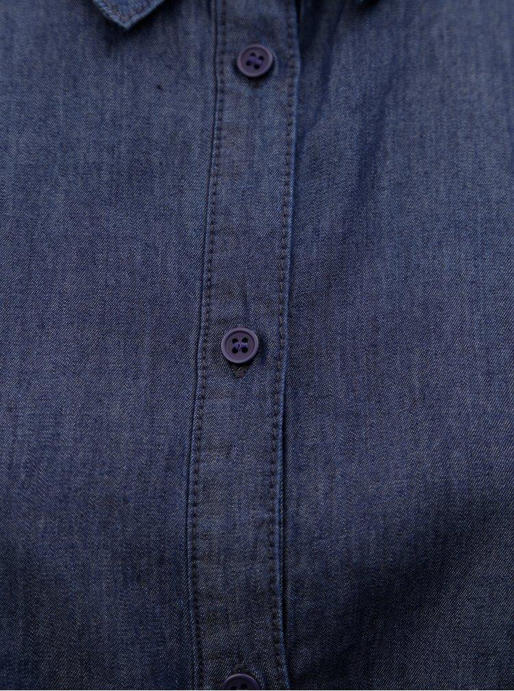 Tmavě modré džínové košilové midišaty s vázáním v pase Ulla Popken
