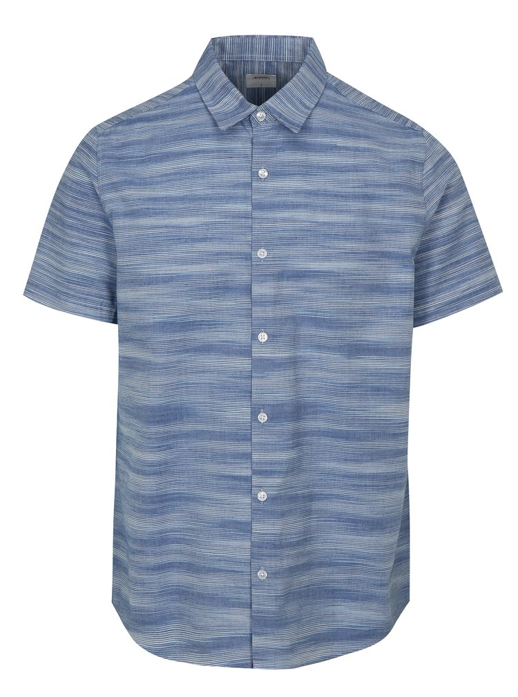 Camasa albastra in dungi cu maneci scurte Burton Menswear London
