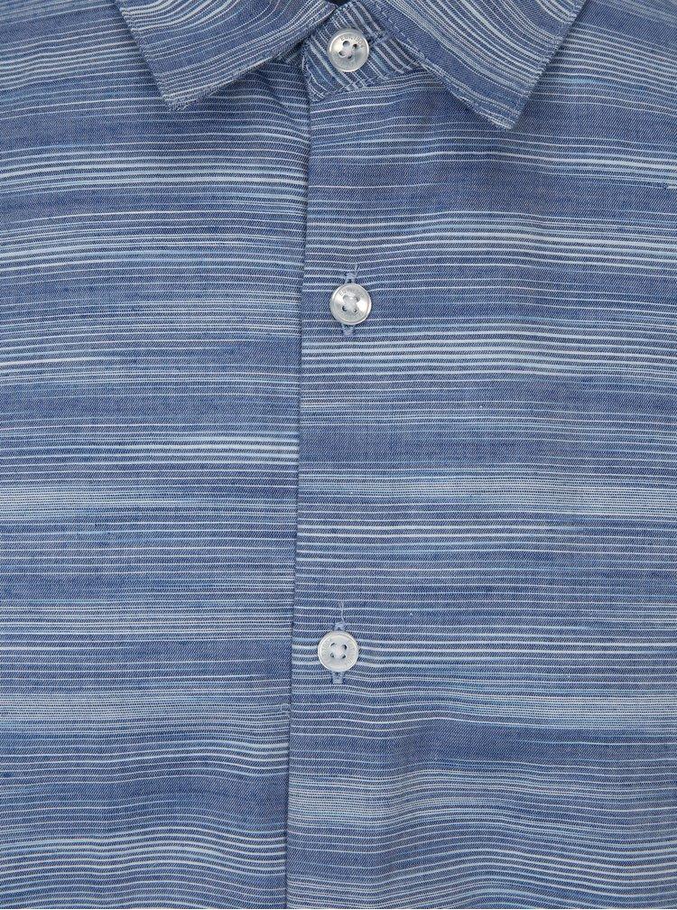 Modrá pruhovaná košile s krátkým rukávem Burton Menswear London