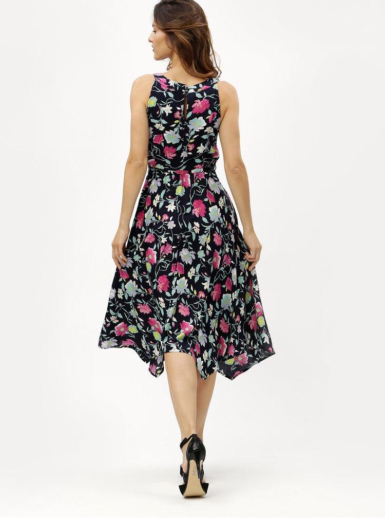 Tmavě modré květované šaty s průstřihy v dekoltu M&Co Floral