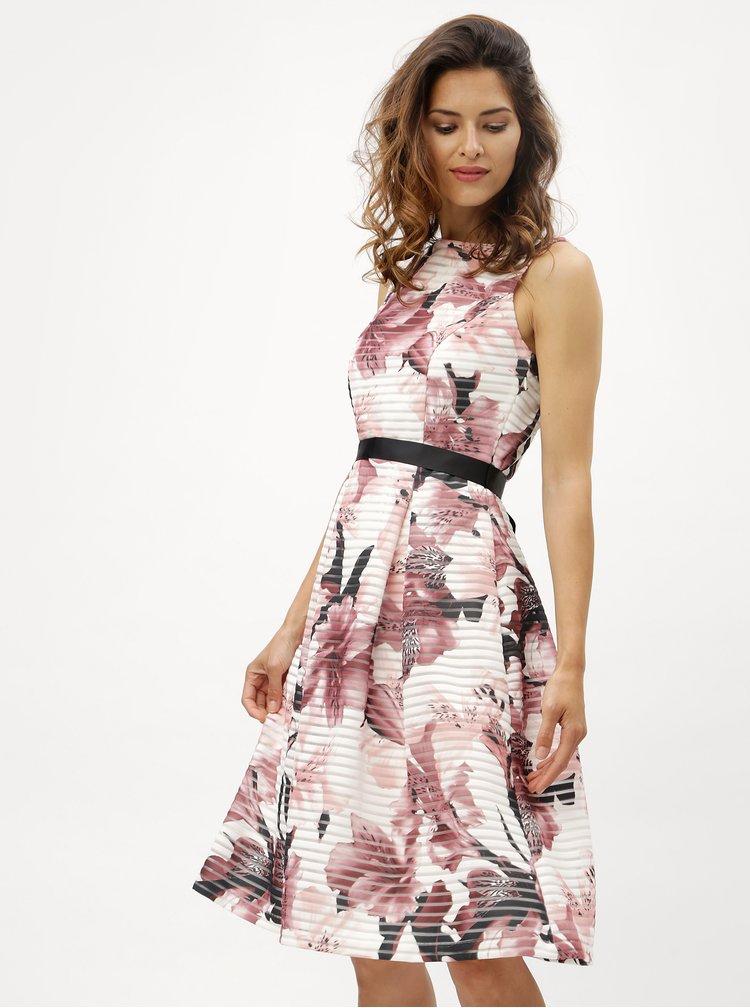 Růžovo-bílé pruhované květované šaty M&Co