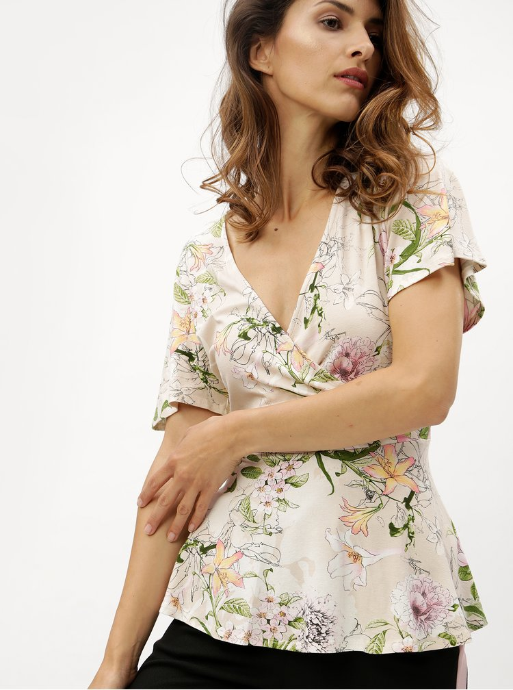 Béžová květovaná halenka s překládaným výstřihem M&Co