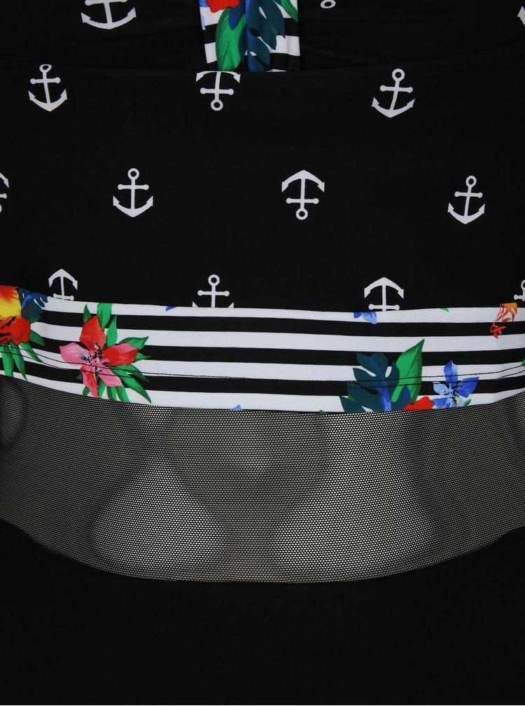 Čierne jednodielne vzorované plavky Ulla Popken