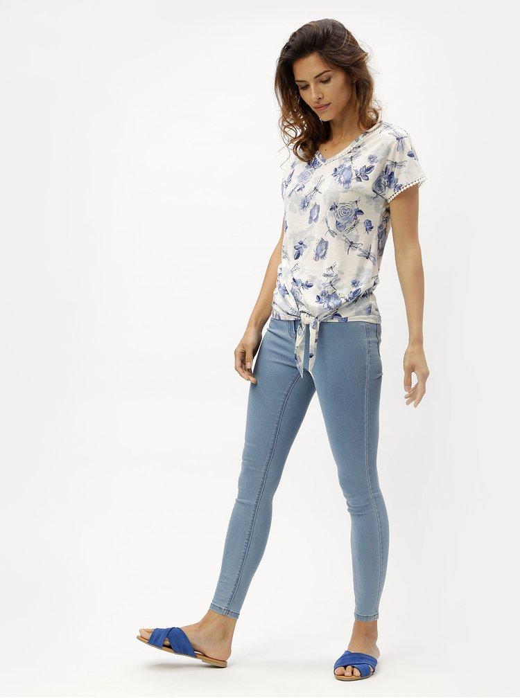 Modro-krémové dámské květované tričko s uzlem M&Co