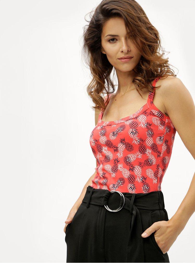 Červené dámske tielko s potlačou ananásov M&Co