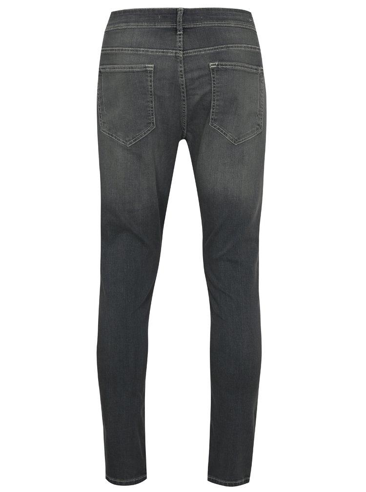 Šedé stretch skinny džíny s vyšisovaným efektem Burton Menswear London