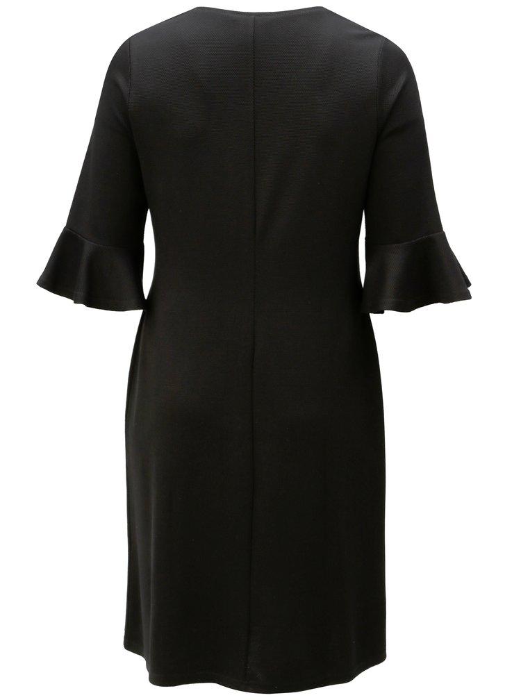 Černé šaty s volány na rukávech Ulla Popken