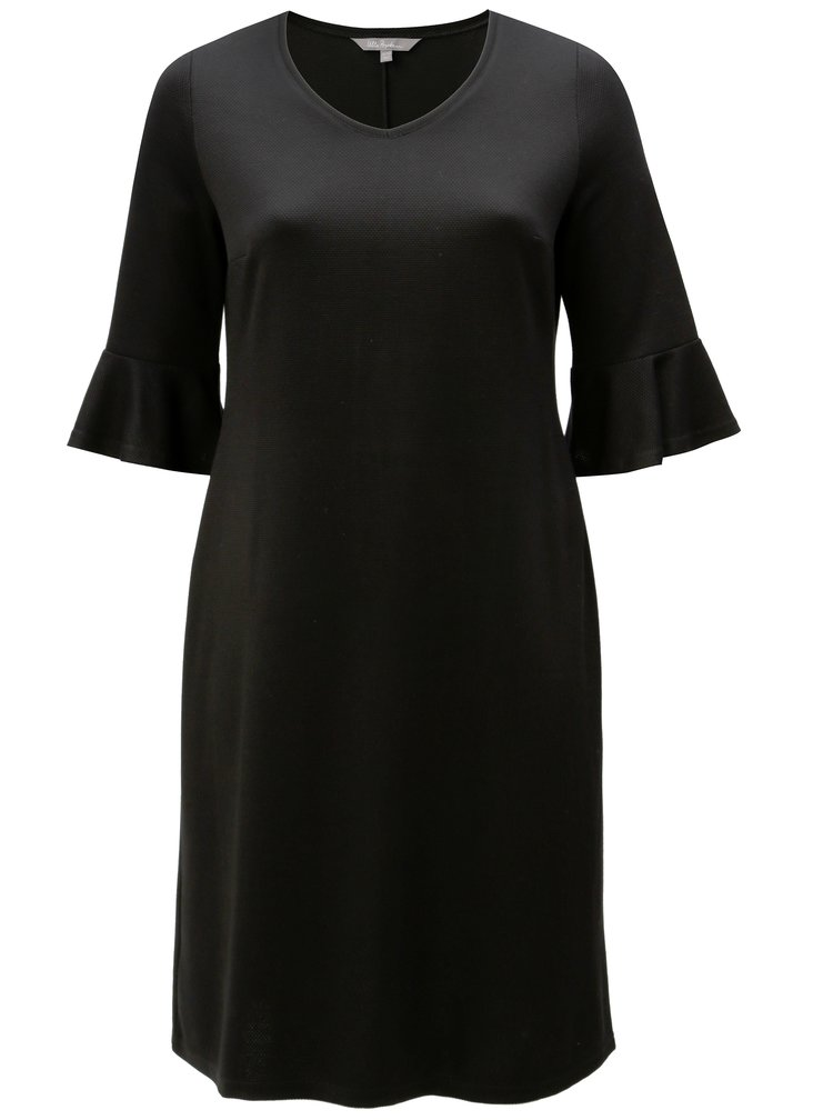 Čierne šaty s volánmi na rukávoch Ulla Popken