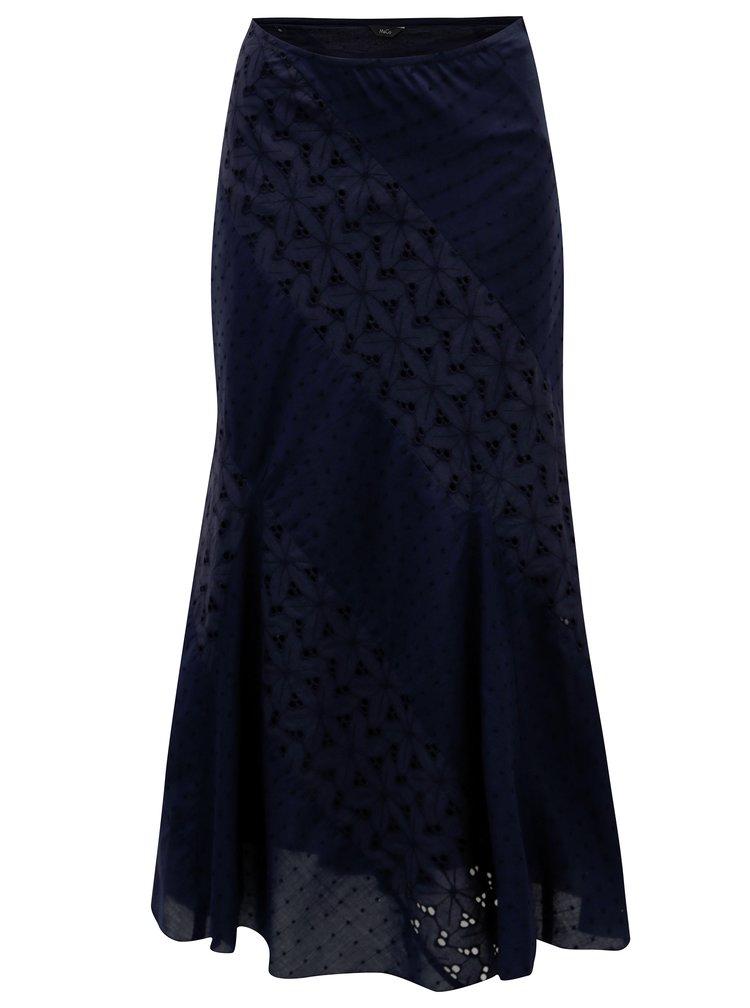 Tmavě modrá maxi sukně s krajkou M&Co
