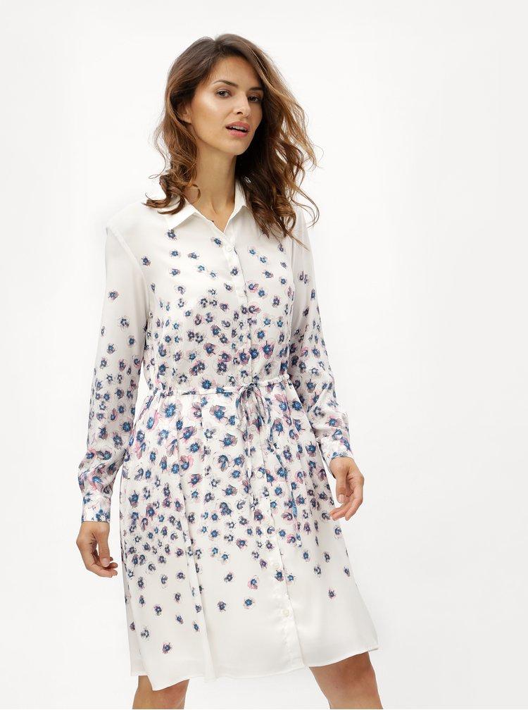 Krémové vzorované košilové šaty  DKNY
