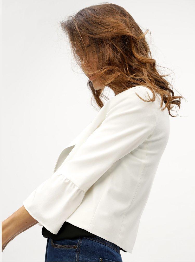 Krémové dámské sako s 3/4 rukávem M&Co Fluted