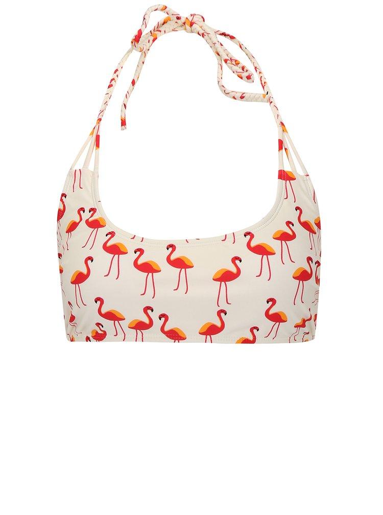 Krémový vzorovaný horní díl plavek VERO MODA Flamingo