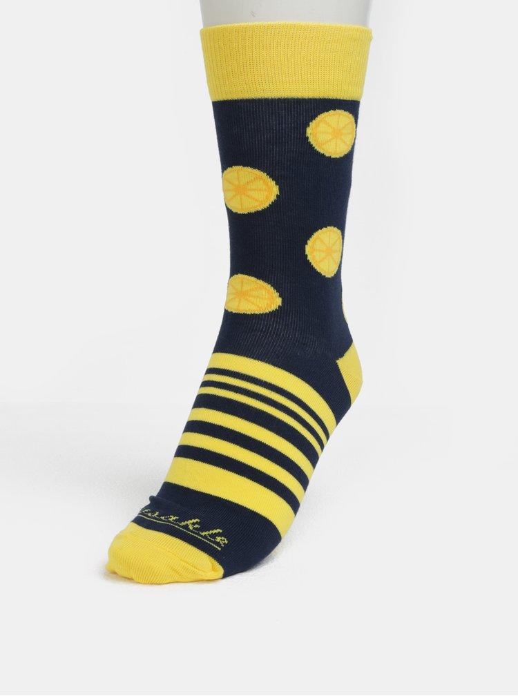 Žluto-modré unisex ponožky s motivem citrónů Fusakle Citronáda