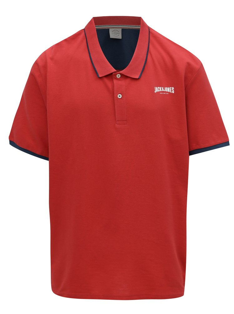 Červené polo tričko s logem Jack & Jones Retro Jack