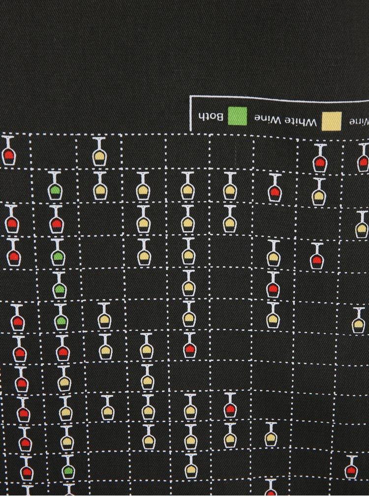Černá zástěra s motivem degustace vína Gift Republic