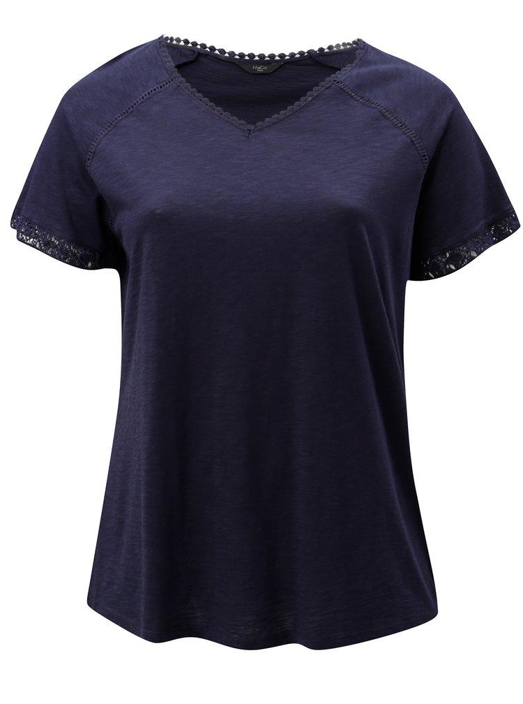 Tmavě modré dámské tričko s krajkou M&Co
