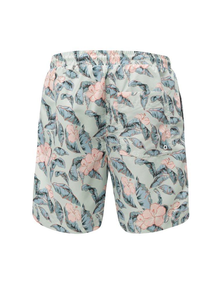 Pantaloni scurti de baie barbatesti verde deschis cu model floral M&Co