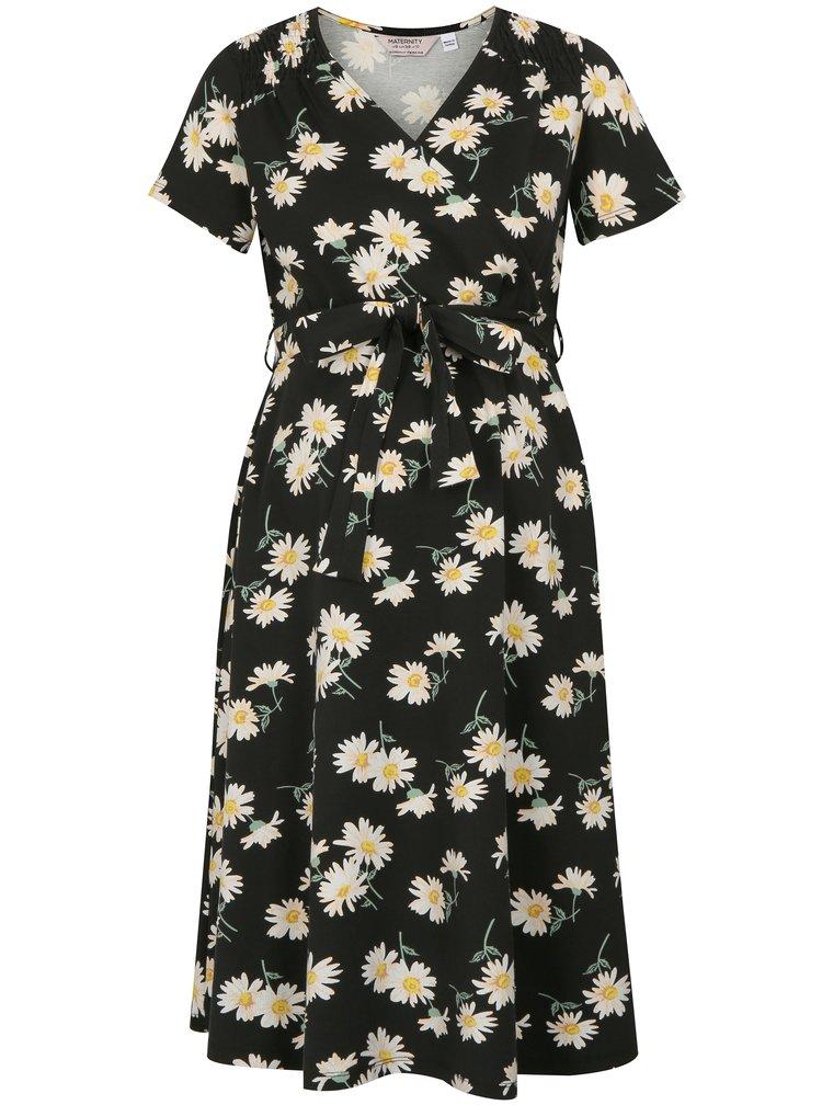 Rochie crem-negru cu model floral pentru femei insarcinate si pentru alaptat Dorothy Perkins Maternity