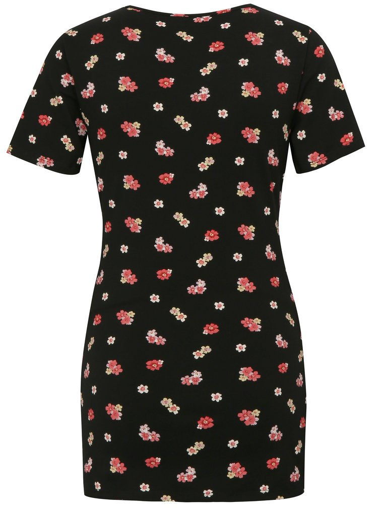 Černé květované těhotenské/kojicí dlouhé tričko Dorothy Perkins Maternity