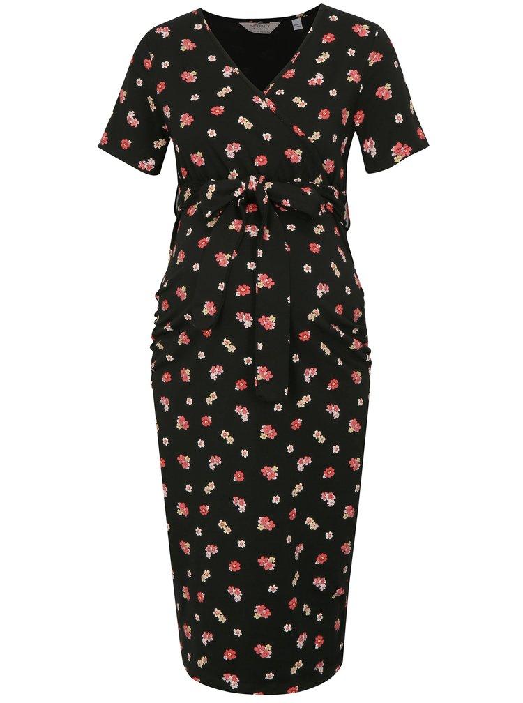 Růžovo-černé květované těhotenské/kojicí šaty Dorothy Perkins Maternity