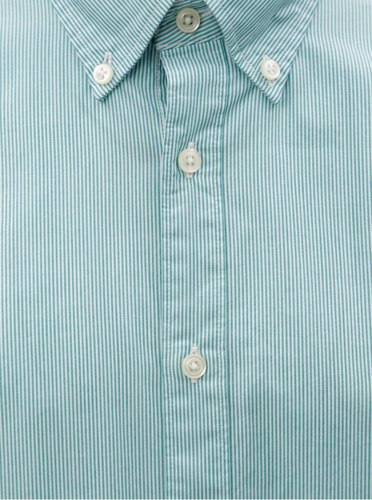 Bílo-zelená pánská pruhovaná slim fit košile Tommy Hilfiger