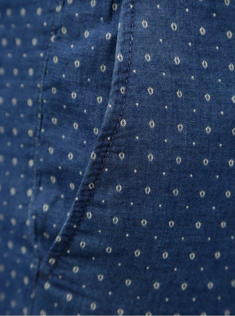 Tmavě modré pánské vzorované chino kraťasy Tommy Hilfiger