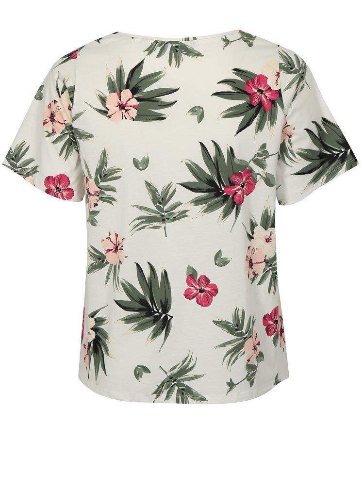 Krémové květované tričko s krajkou Dorothy Perkins Curve