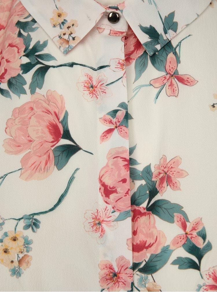 Krémová květovaná halenka bez rukávů Dorothy Perkins Curve
