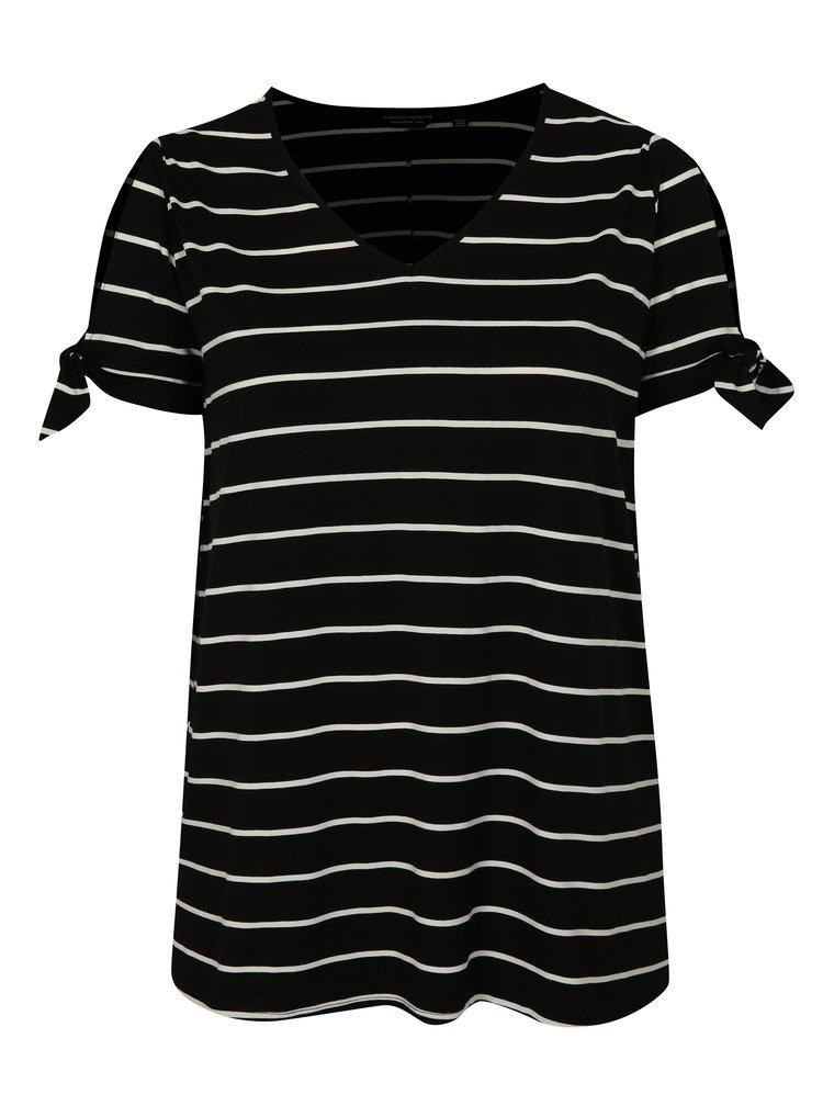 Černé pruhované tričko Dorothy Perkins Curve