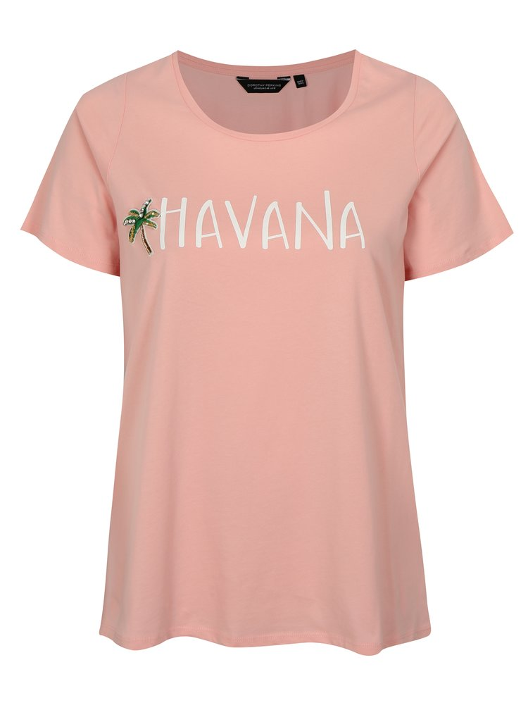 Růžové tričko s krátkým rukávem Dorothy Perkins Curve