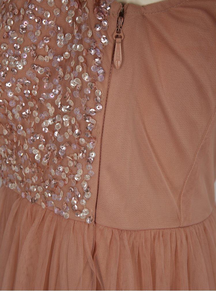Starorůžové šaty s odhalenými rameny a ozdobnými flitry Dorothy Perkins