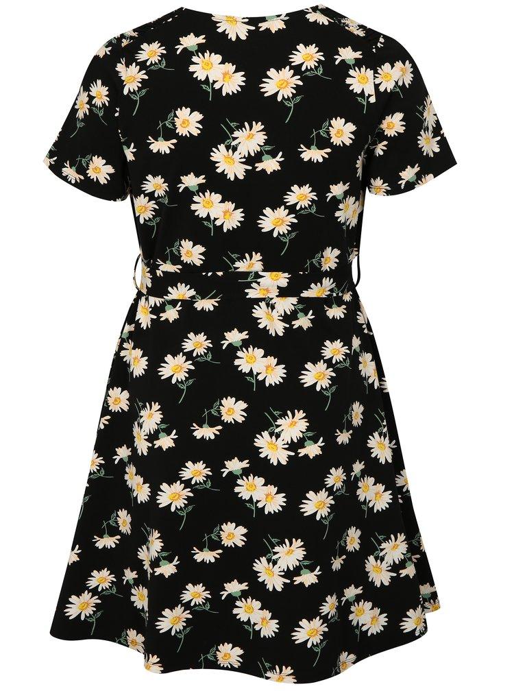 Černé květované šaty s krátkým rukávem Dorothy Perkins Curve