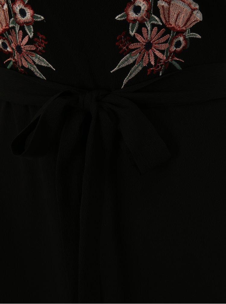 Černé maxišaty s výšivkou květin Dorothy Perkins