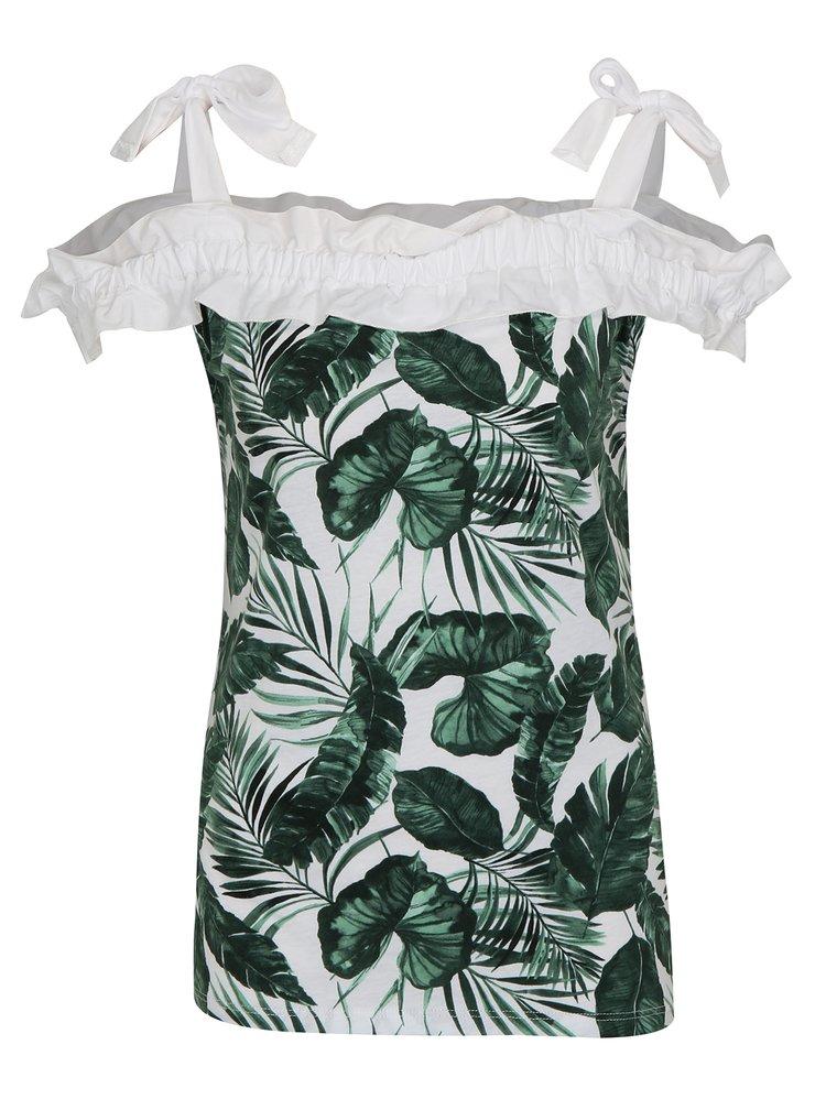 Zeleno-bílé vzorované tričko s odhalenými rameny Dorothy Perkins