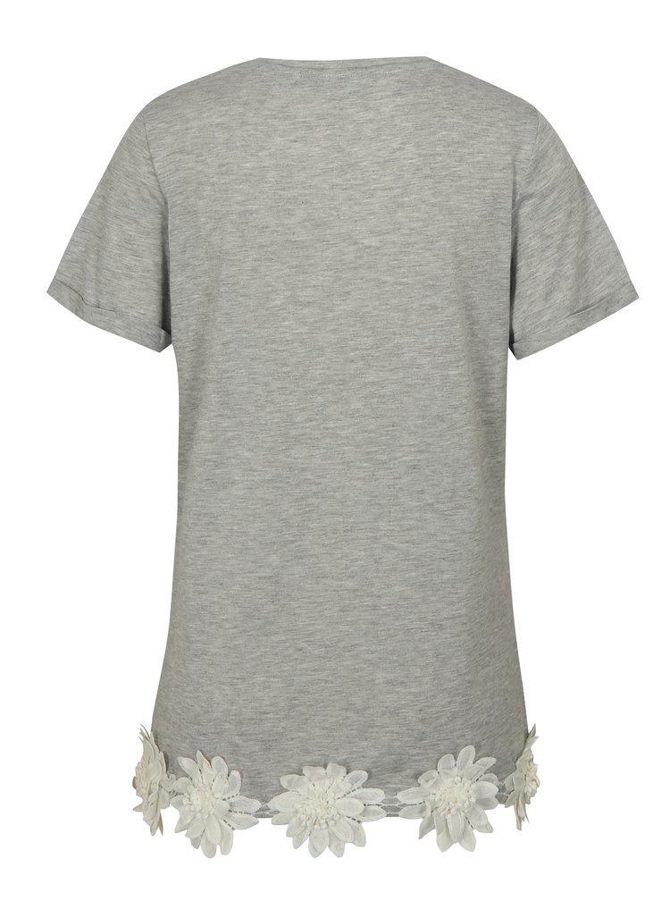 Šedé tričko s nášivkami květin Dorothy Perkins Tall
