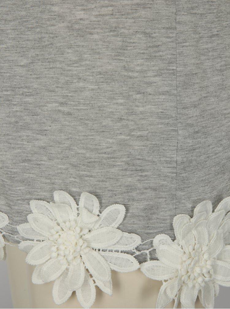Sivé tričko s nášivkami kvetín Dorothy Perkins Tall