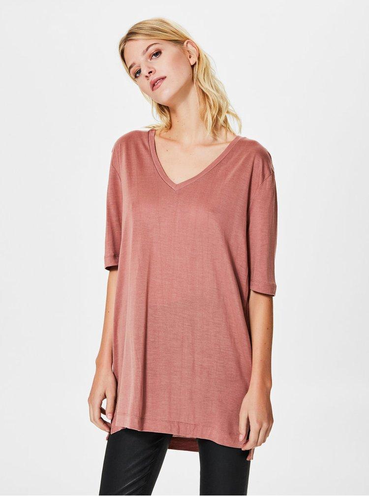 Tricou roz prafuit cu decolteu in V Selected Femme Lyro