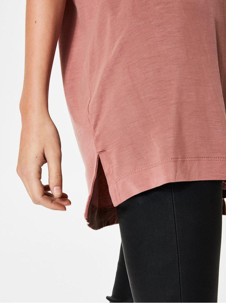Starorůžové basic tričko s véčkovým výstřihem Selected Femme Lyro