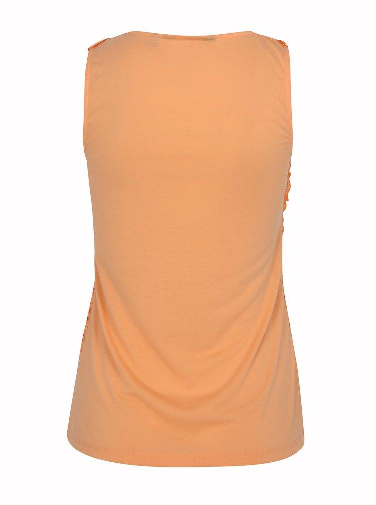 Meruňkové tričko s krajkovanou přední částí Dorothy Perkins