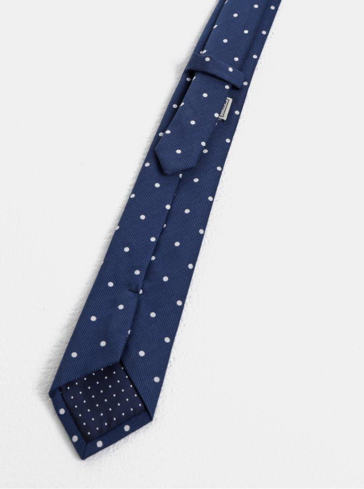 Tmavomodrá bodkovaná slim kravata Jack & Jones