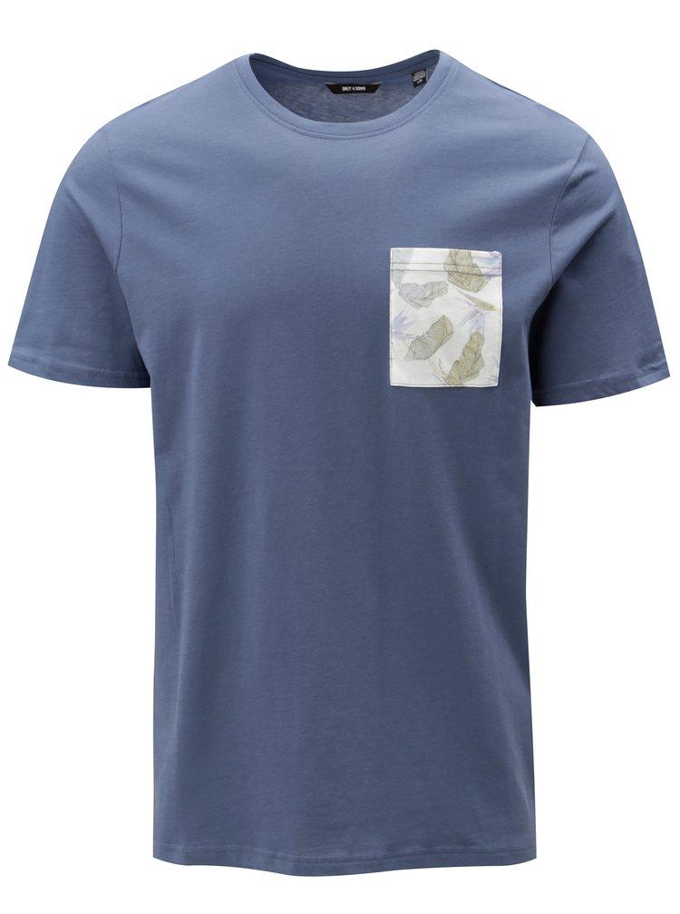 Modré tričko s náprsní kapsou ONLY & SONS