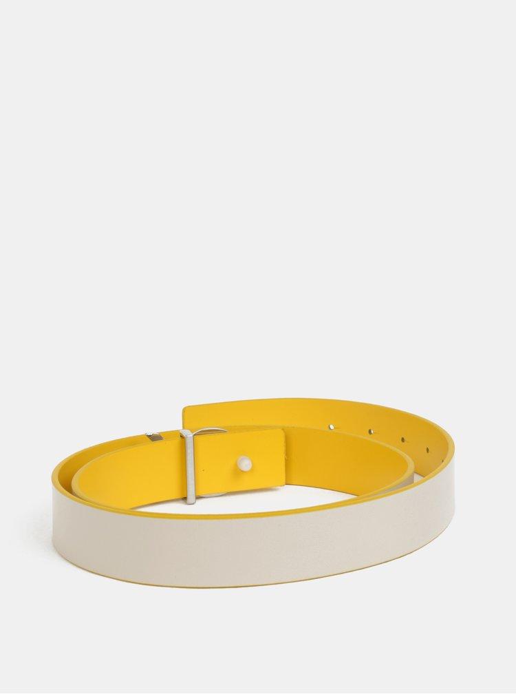 Žlutý dámský kožený oboustranný pásek Calvin Klein Jeans