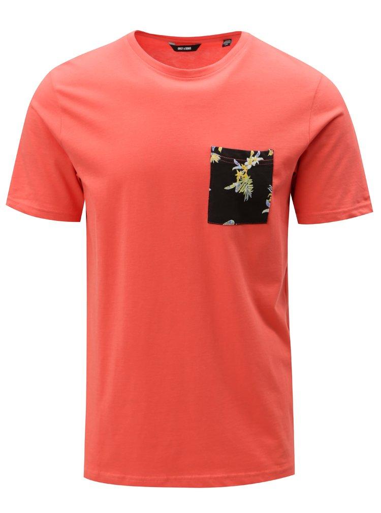 Červené tričko s náprsní kapsou ONLY & SONS