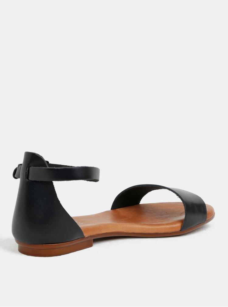 Sandale negri din piele naturala OJJU