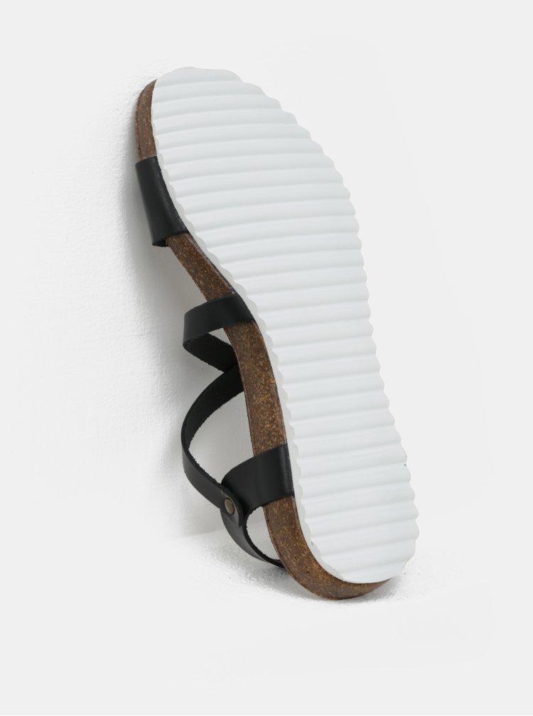 Čierne kožené sandále OJJU