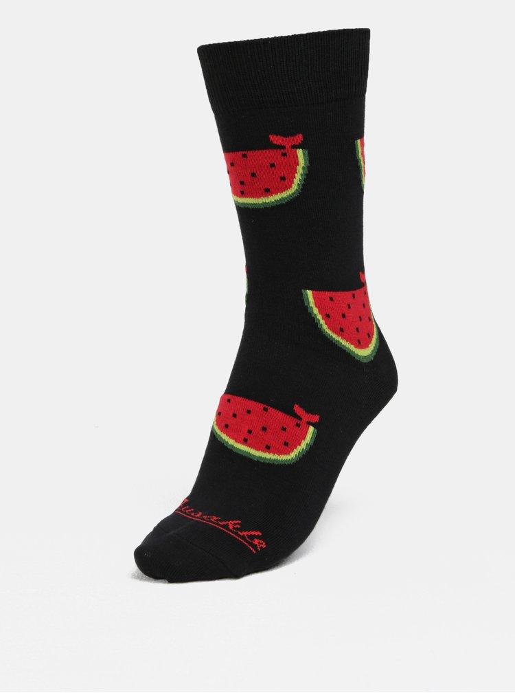 Červeno-černé unisex vzorované ponožky Fusakle
