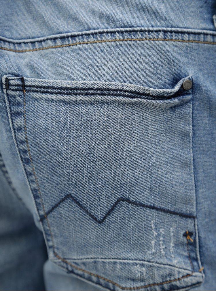 Světle modré slim fit džíny s potrhaným efektem Blend