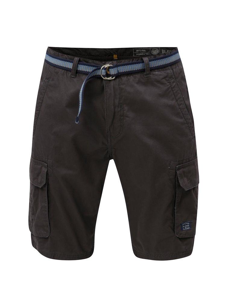 Pantaloni scurti gri inchis cu curea si buzunare Blend