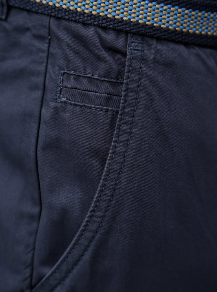 Tmavě modré chino kraťasy s páskem Blend